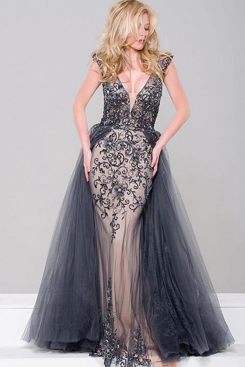 Jovani - Embellished Column Dress with Tulle Overlay JVN46081 ...