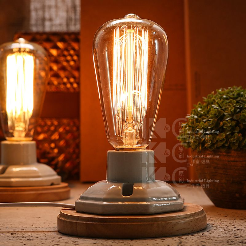 Industrial vintage edison wooden ceramics base socket e27 dimming industrial vintage edison wooden ceramics base socket e27 dimming table lamp cafe bar coffee shop hall aloadofball Choice Image
