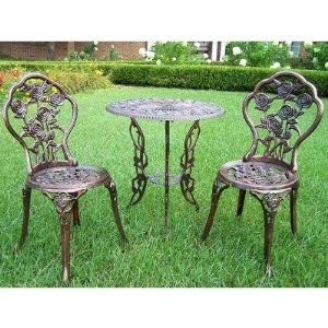 Oakland Living 3705 AB Rose Outdoor Bistro Set, Antique Bronze