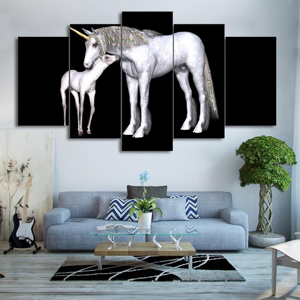 HD Printed 5 Piece Canvas Art Abstract White Horse Painting Framed ...