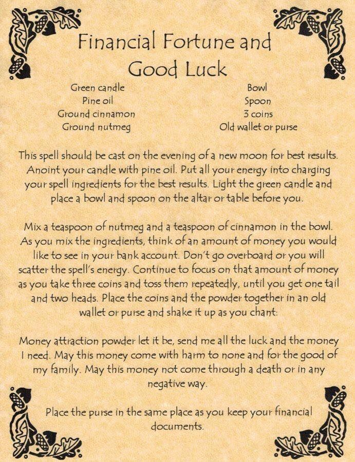 Make Your Gifts Special Life Book Of Shadows Page Financial Fortune And Good Luck Money Spell Wicca In Collectibles