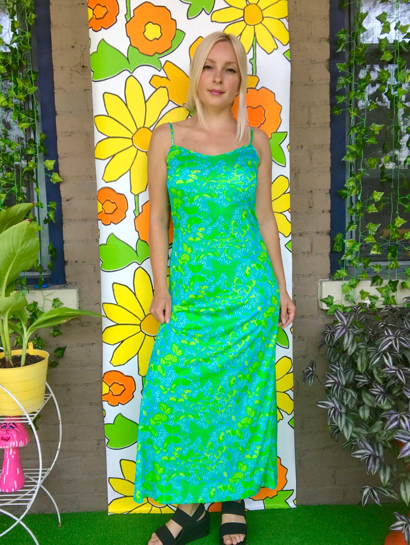 Vintage s novelty butterfly print maxi dress retro s s green
