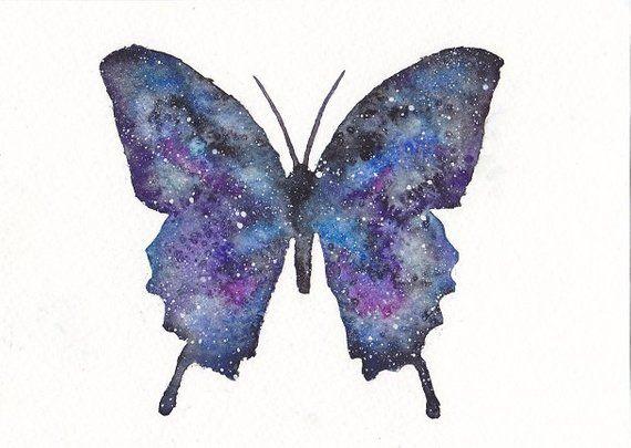 ff12f8a115b Galaxy Space Butterfly Watercolor   5x7 Print   Blue Purple Pink Black Stars