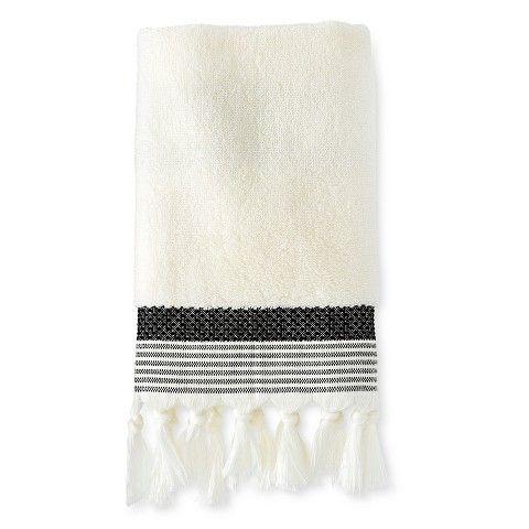 Hand Towel Stitched Stripe Shell/Ebony - Threshold