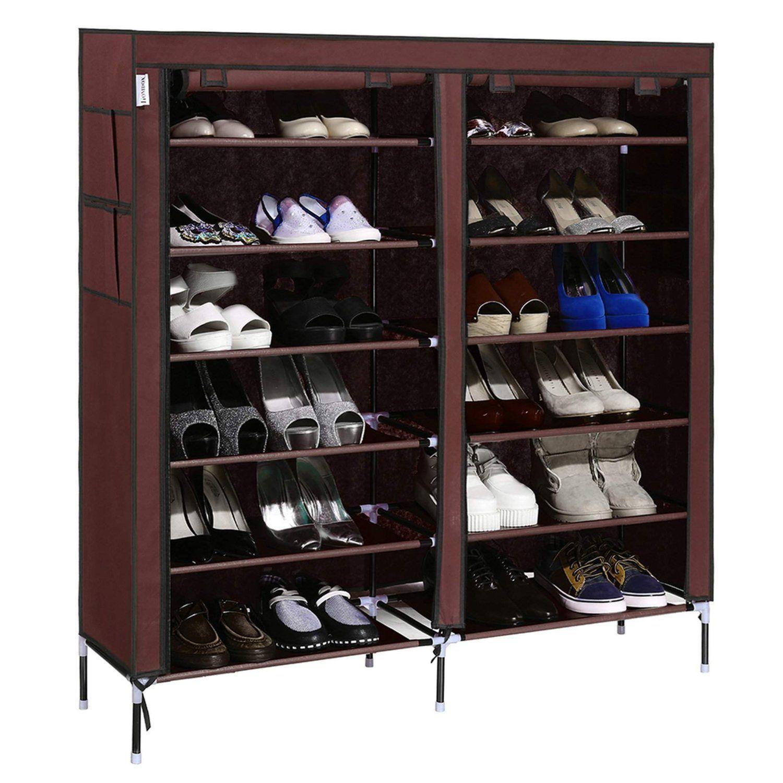 Amazon Com Homdox 7 Tier Shoe Rack Portable Shoe Storage Cabinet Organizer With Covered Shoe Storage Closet Organization Shoe Rack Closet Closet Shoe Storage