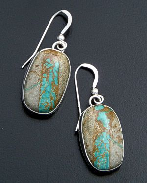 Navajo - Oval Boulder Turquoise & Sterling Silver Dangle Earrings #31602 $110.00