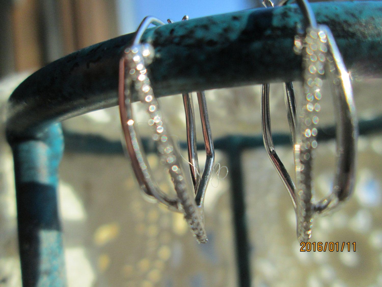 Vintage Designer .11ctw Genuine H-SI1 Diamond .925 Sterlig Silver Earrings, Hoop, Wt. 2.5g by TamisVintageShop on Etsy