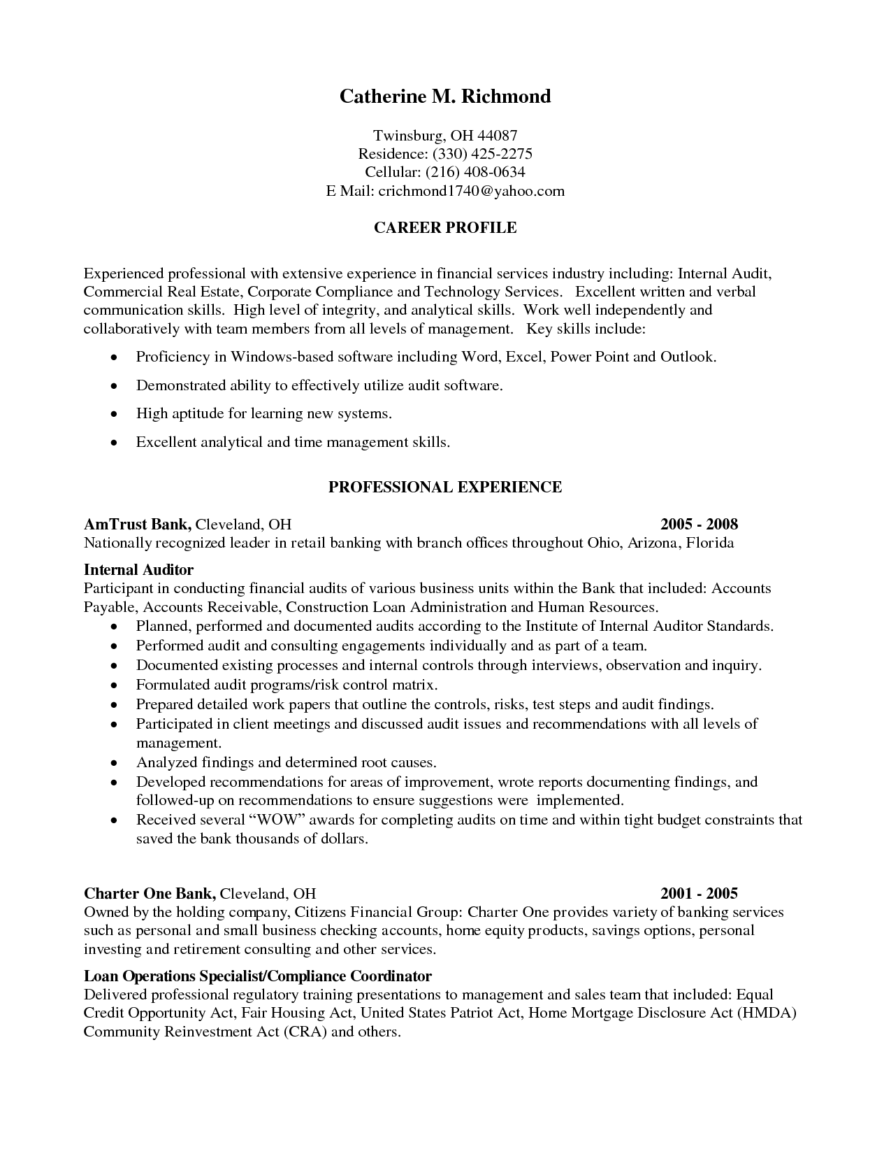 resume cover letter example auditor