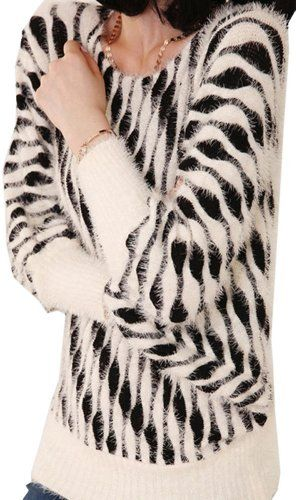$41.10 awesome Winter Female Zebra Long Sleeved Mohair Sweaters