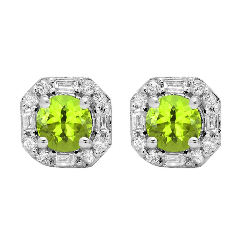 10k Gold 1 3/8ct TW Round-cut Peridot and Round Diamond Accent Stud Earrings (I-J, I1-I2 ) (Earrings,