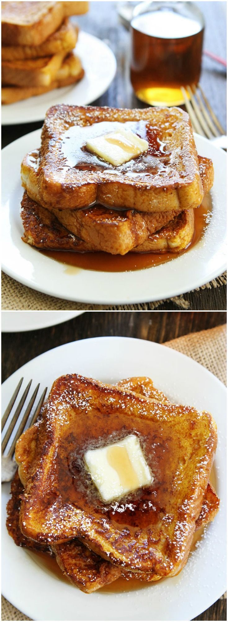 Pumpkin French Toast Recipe on twopeasandtheirpod.com This French Toast is amazing and the perfect fall breakfast treat!
