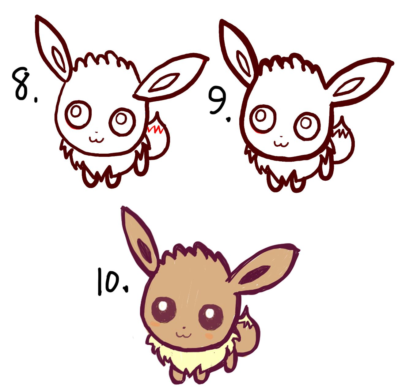 learn how to draw cute chibi baby eevee in easy steps ...