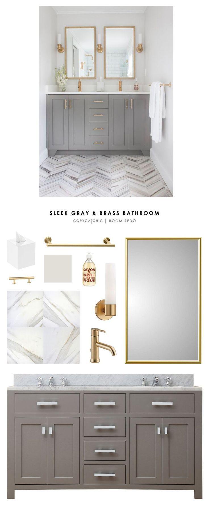 Diseño de baño en blanco y gris con complementos dorados ...