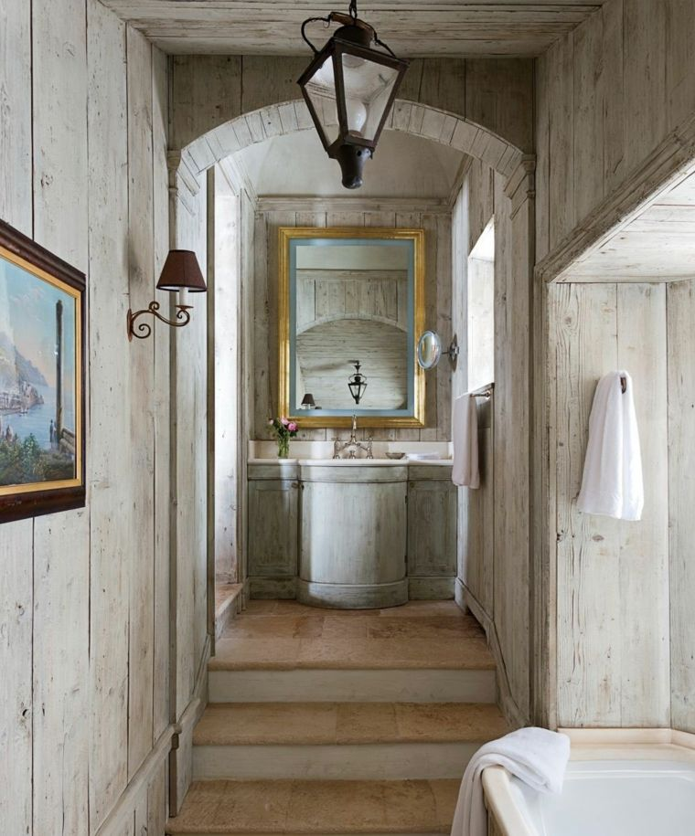 lavabos rústicos banos color gris madera ideas | Interiores para ...