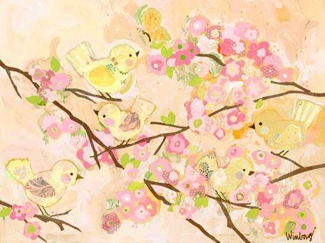Cherry Blossom Birdies Butter Cream Canvas Wall Art | Eli Harper ...