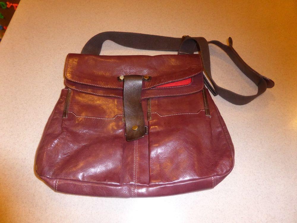 Marco Buggiani Brown Leather Crossbody Messenger Satchel Purse Bag Italy Marcobuggiani