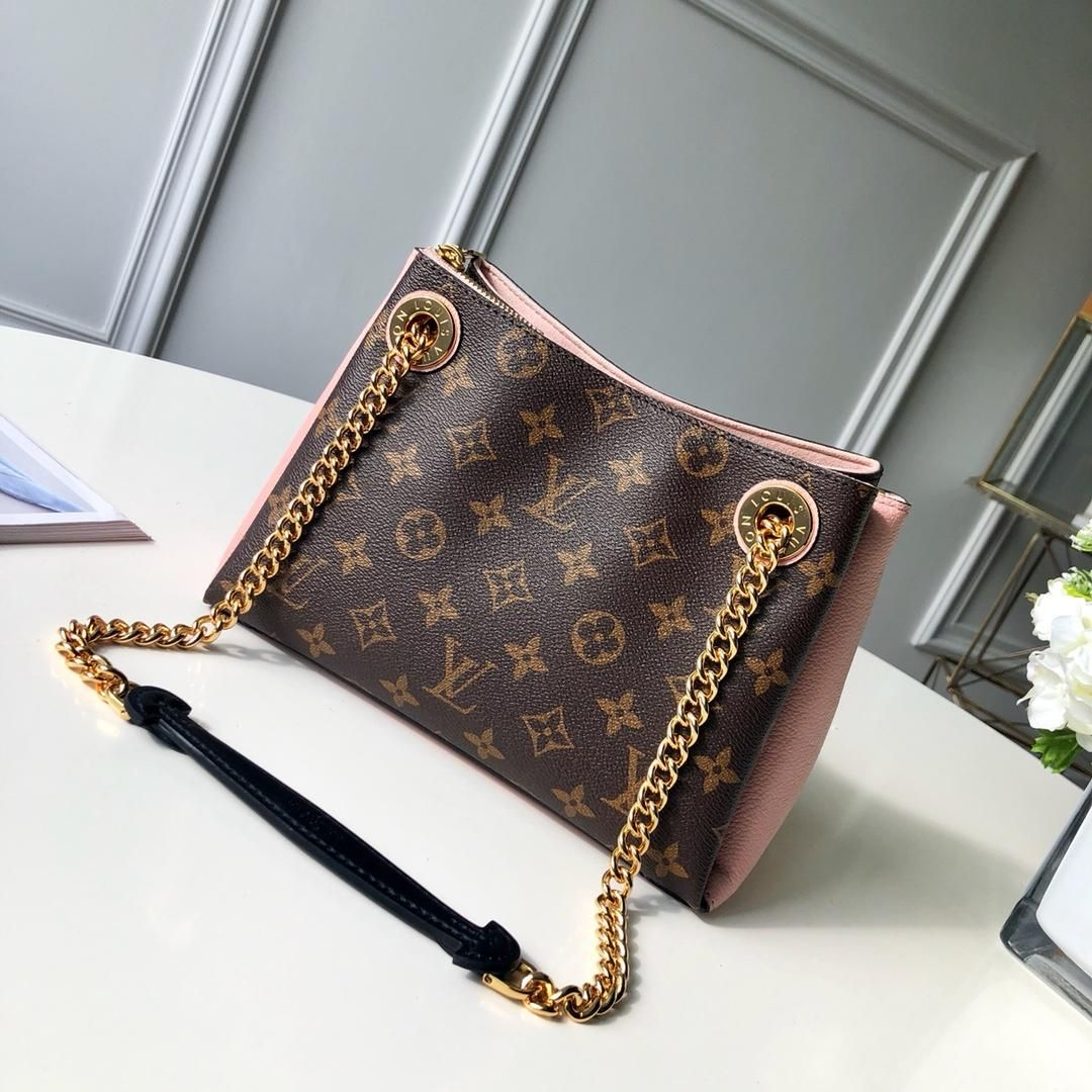 84904a6e35624 M43777 Louis Vuitton Fall-Winter 2018 Premium Surene BB-Rose poudre The  Surene BB handbag in Monogram canvas and grained calf leather with a  gold-color ...