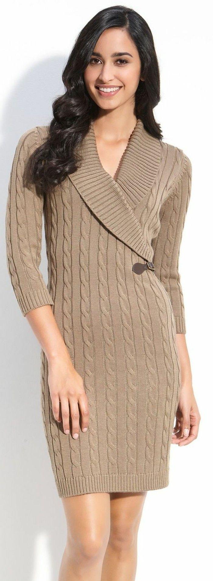 c546ded42fa robes laine longueur au-dessus du genou avec décoration sur le coté ...