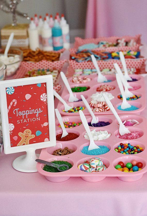 Photo of Gingerbread House Decorating Party Toppings Station 4×6 Instant Download Printable PDF Sign, Holiday Kids, Christmas, Winter, Candy, Sweet