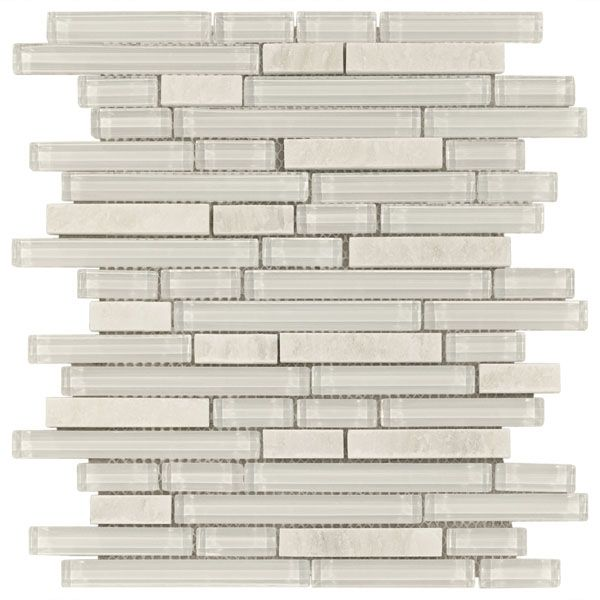 Here's a nice mix at Floor & Décor- This is kinda what we were talking about but would look good anywhere Bliss Norwegian ice Glass Quartz Linear Blend Mosaics Tile