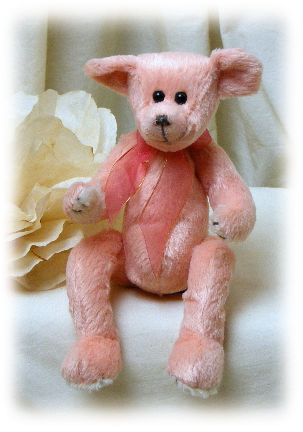0050a6bd368 Ty Beanie Baby . . Attic Treasures . . Hayes Peach Bear by TheCraftBlossom  on Etsy
