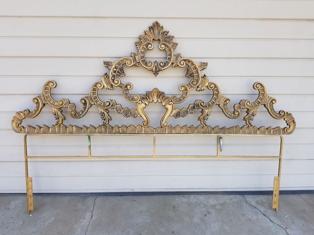 Rare Vintage Hollywood Regency Baroque Rococo Glam Gold King Size