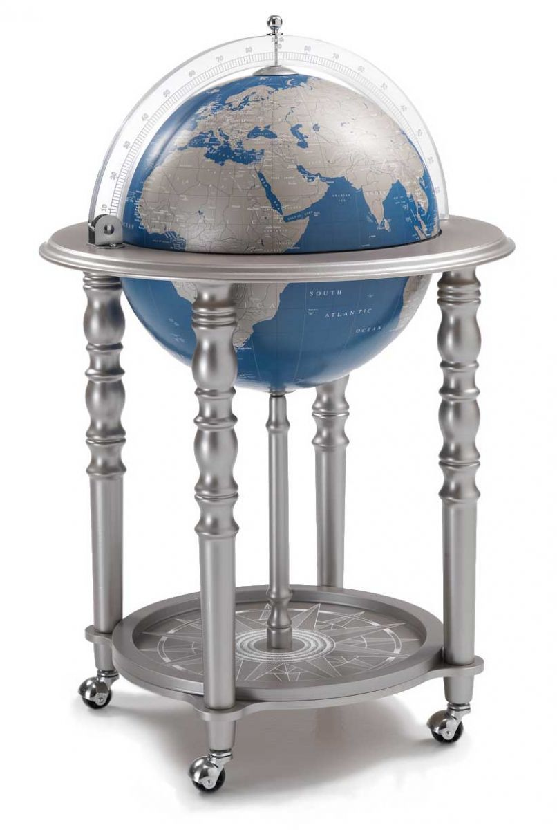 In Vogue Metallic Blue Globe Bar Modern World Globe Globe Drinks Cabinet Globe Bar Globe Liquor Cabinet