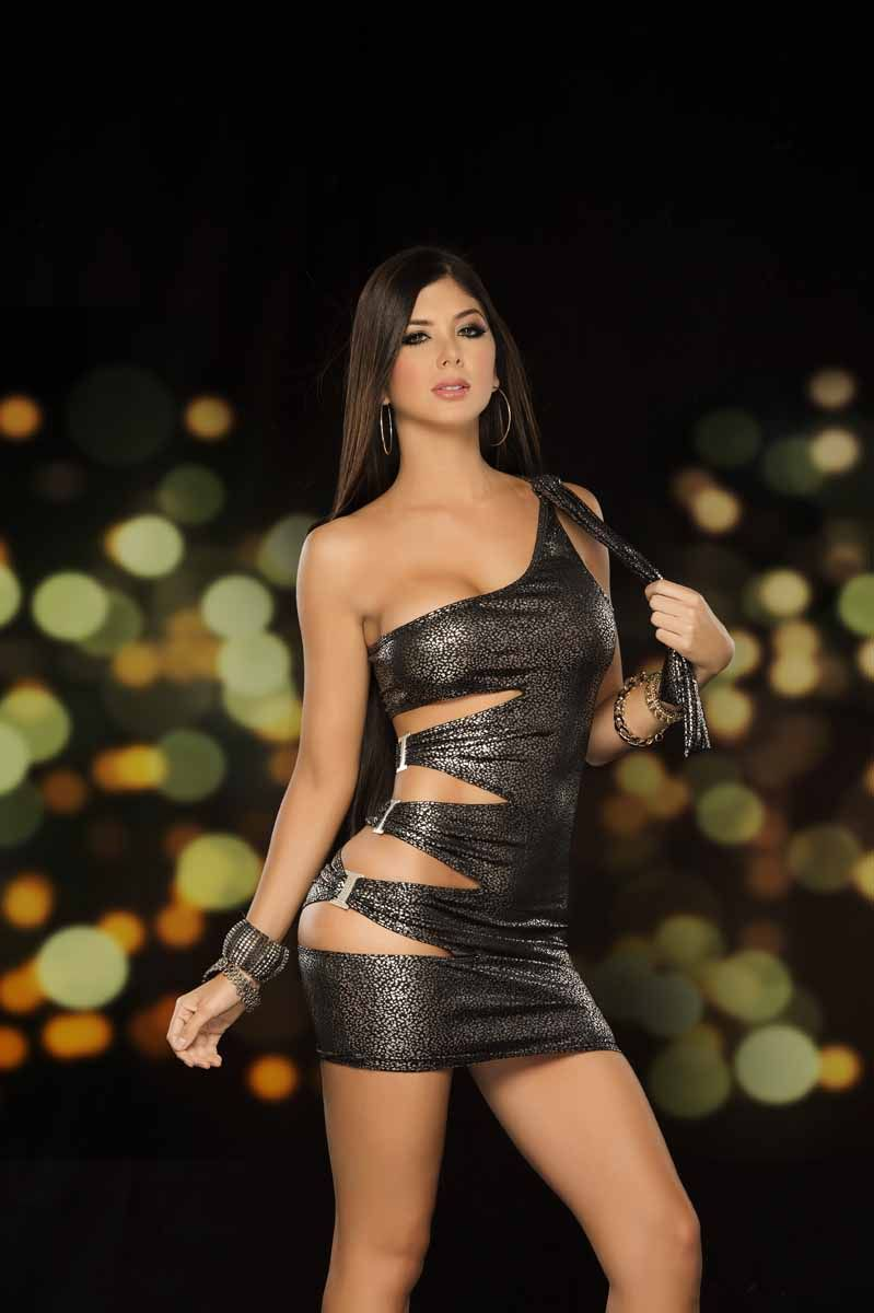 Metallic one shoulder mini dress with cut out side dance wear