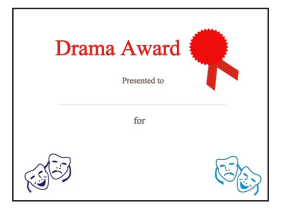 drama award certificate