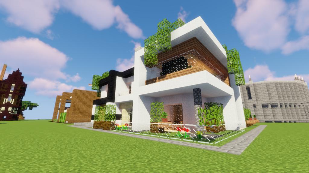Construction D Une Maison Moderne A Minecraft Maison Zenidees Maison Moderne Maison Moderne Minecraft Construction Maison