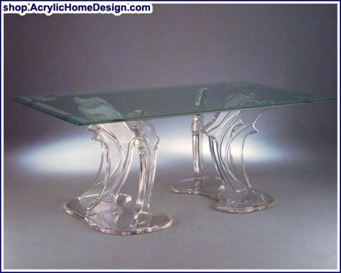 Good Acrylic Dolphin Table Base, Glass Topped Dining Table.