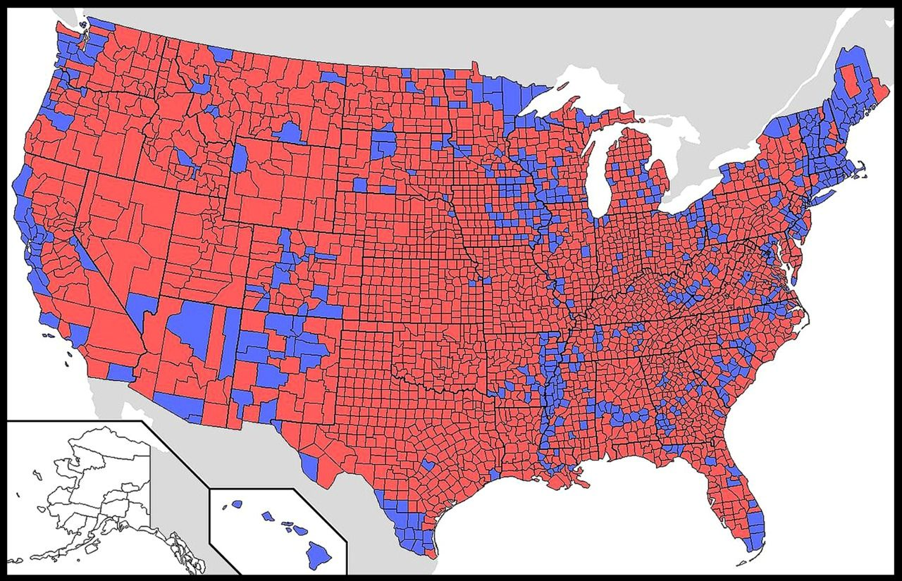 Electoral Map Of Us By County Red Blue Us Map By County Us 2016 ...