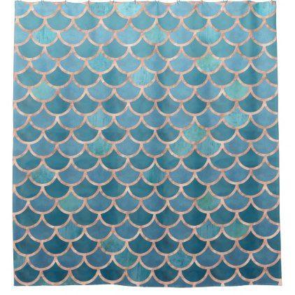 Teal Blue Rose Gold Mermaid Scales Pattern Shower Curtain Diy