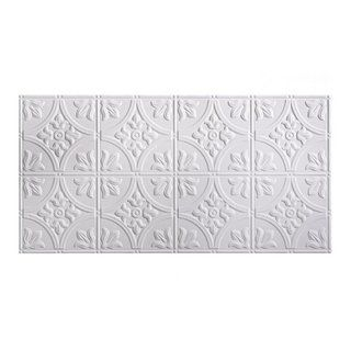 Fasade Traditional Style 1 Matte White 2 Ft X 4 Ft Glue Up Ceiling Tile 2 X 4 Matte White Plastic Pvc Ceiling Tiles Pvc Ceiling Ceiling Tile