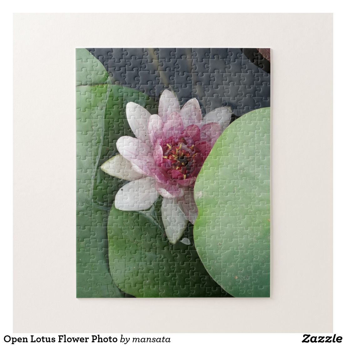 Open Lotus Flower Photo Jigsaw Puzzle Zazzlecouk Puzzles
