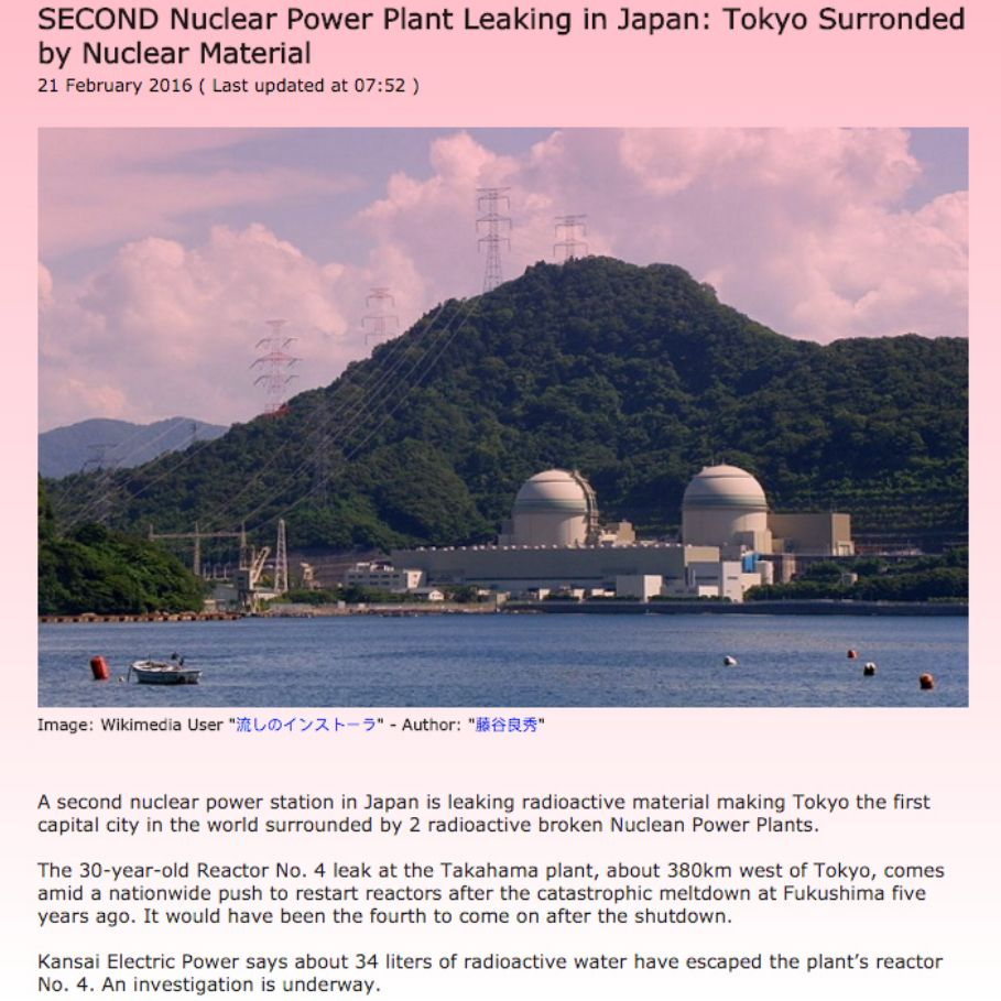 Second Nuclear Power Plant Leaking in Japan: Tokyo Surronded by Nuclear Material ➤ https://onewayjapan.com/News-National/2016/13-Takahama-Leak-Nuclear-Material.html ②⓪①⑥ ⓪② ②①