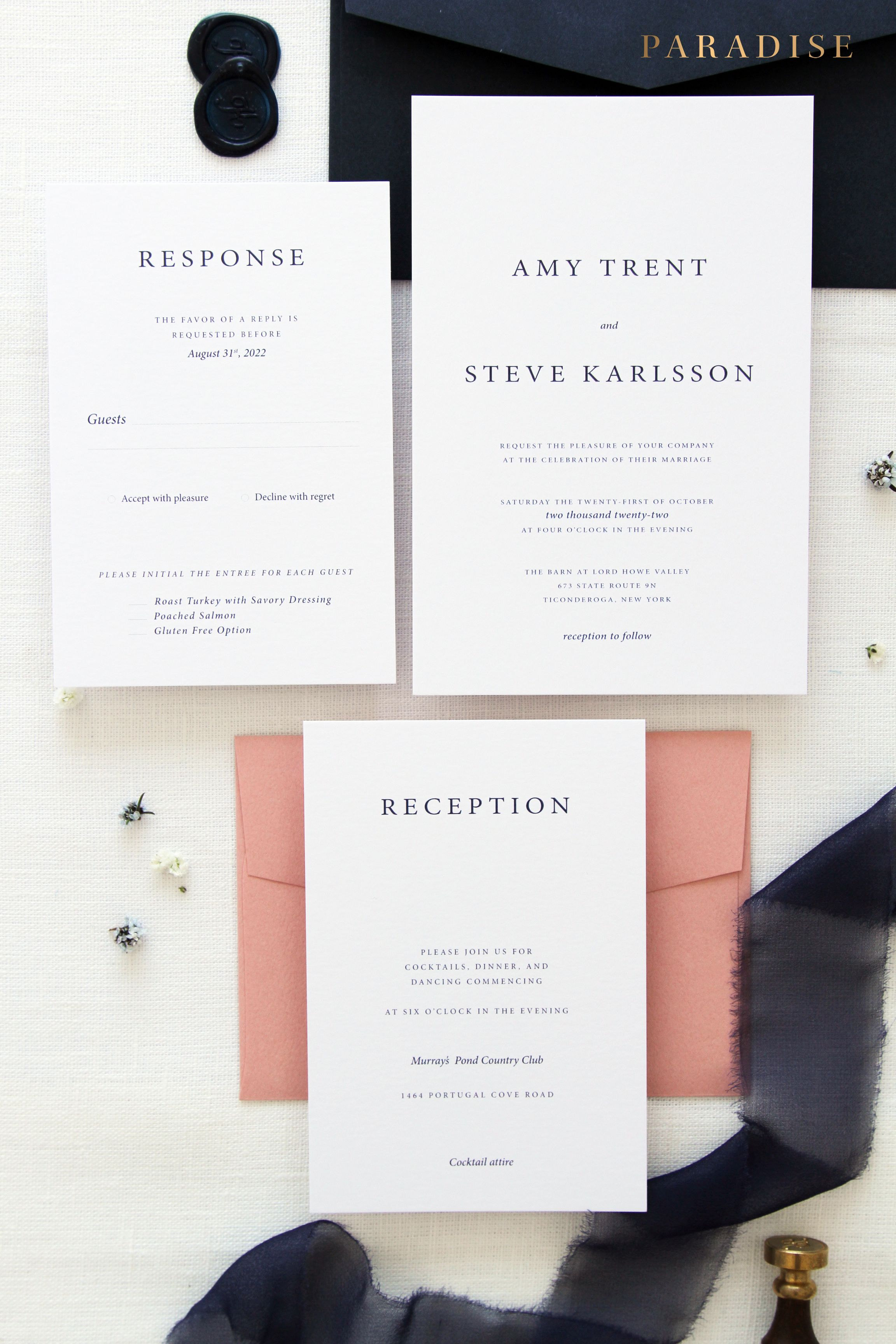 Whitney Navy and Blush Wedding Invitation Sets, Printable Files or ...