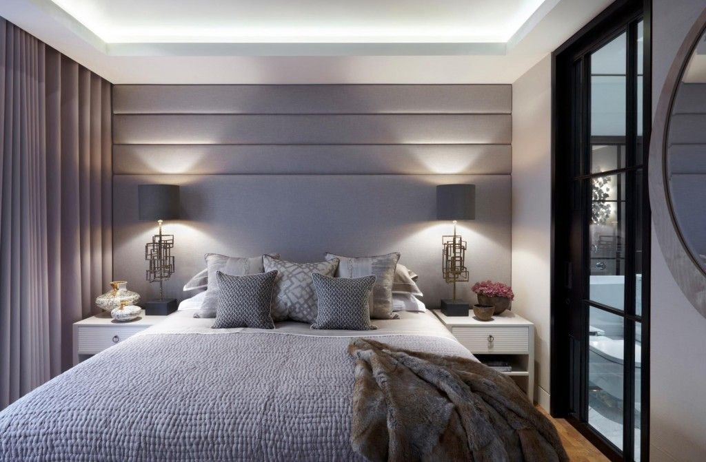 Contemporary Bedroom With Padded Headboard Wall In Soft Shades Of Dove Grey Helen Green