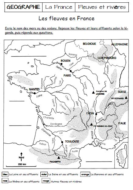Carte Belgique Enseignement.Les Fleuves Et Rivieres De France Ecole School Geographie Cm1