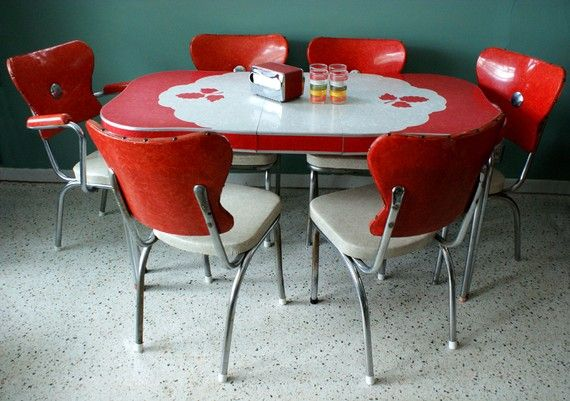 Vintage 1950s Red Kitchen Diner Table Set By Themodernhistoric