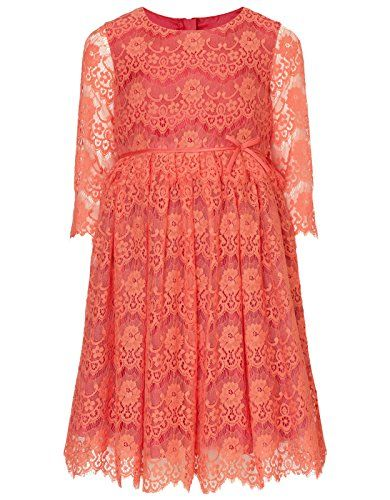 Monsoon Girls Darlina Peplum Dress Size 6 Years Orange  - Click image twice for more info - See a larger selection of play wear dresses at http://girlsdressgallery.com/product-category/play-wear-dresses/- kids, toddler, kids dresses, little girls, dress, casual dress, little girls fashion, gift ideas