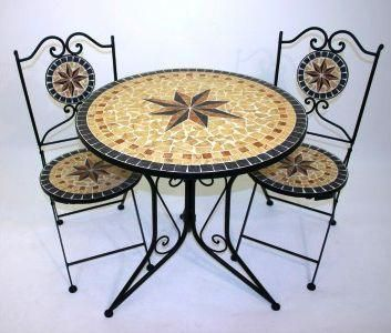 Mosaic Bistro Table Sets | Bistro Set (3) In Sandstone Star Mosaic   £