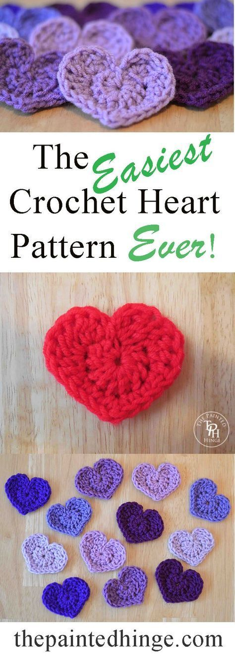 The Easiest Heart Crochet Pattern Ever! | Pinterest | Gehäkelte ...