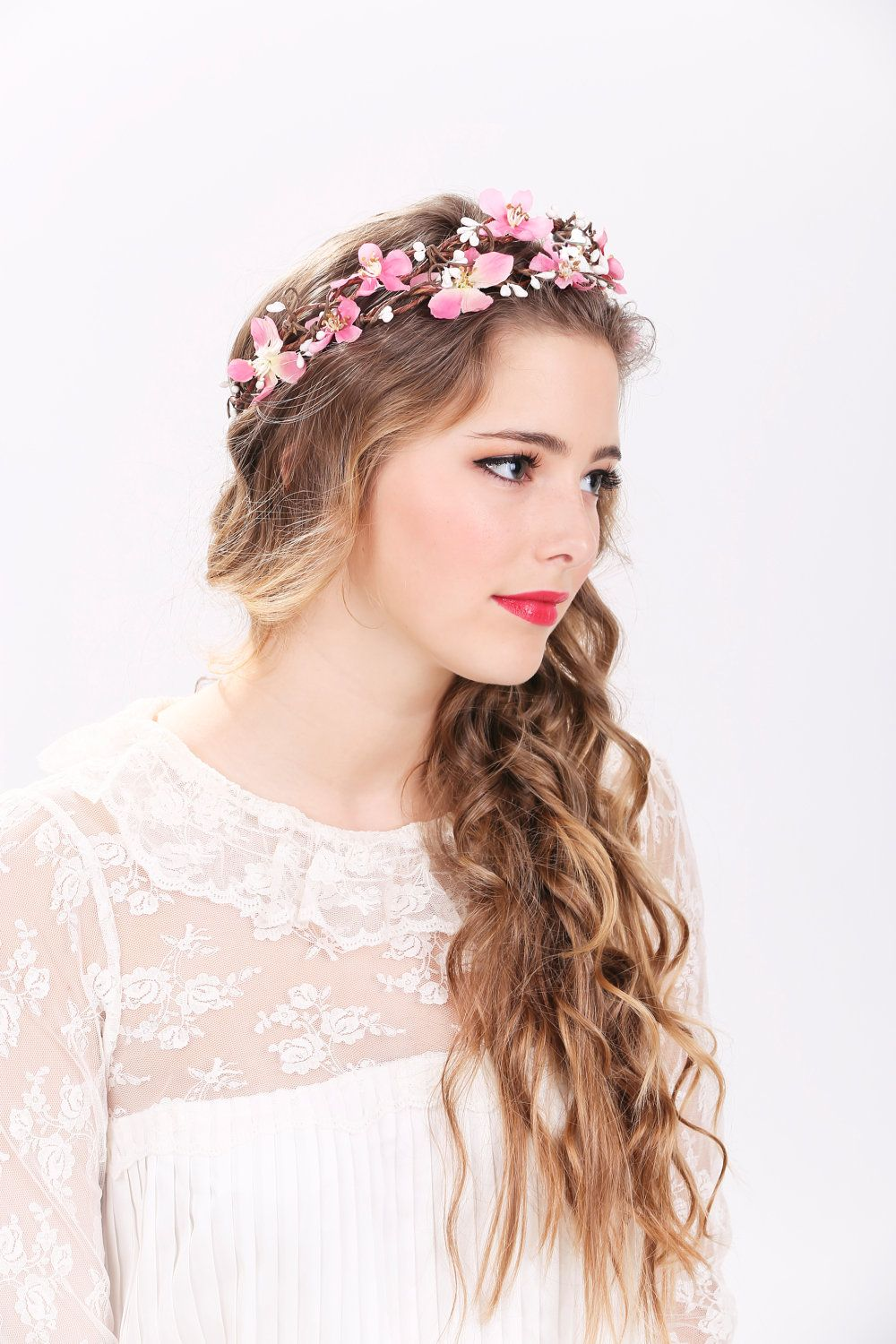 Surprising Pink Flower Crown Wedding Headpiec Wedding Headpiece Wedding Hairstyle Inspiration Daily Dogsangcom