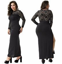 Sexy Women's Plus Size Scoop Neck Sleeve Maxi Split Formal Party Evening Dress