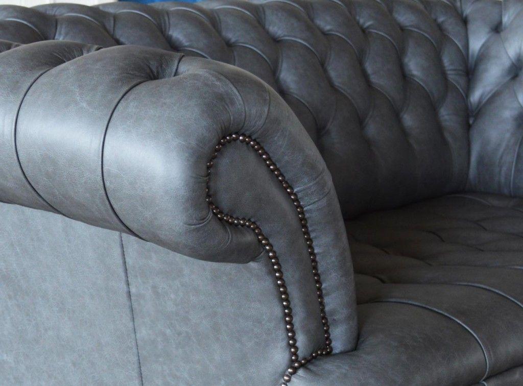 Grey Chesterfield Sofa Leather Mart Davenport Iowa