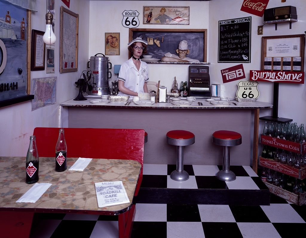 Recreated diner at the Texas Route 66 Museum in McLean, Texas. Photo between 1980 and 2006. Photographer Carol M. Highsmith Archive, Library of Congress Prints and Photographs Division.