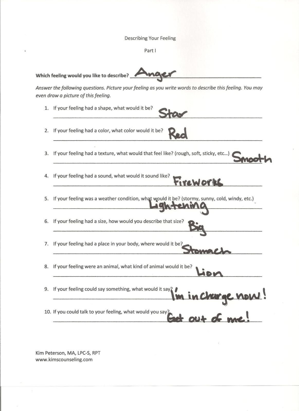 Worksheets Imagery Worksheet describing your feeling printable guided imagery worksheet social worksheet