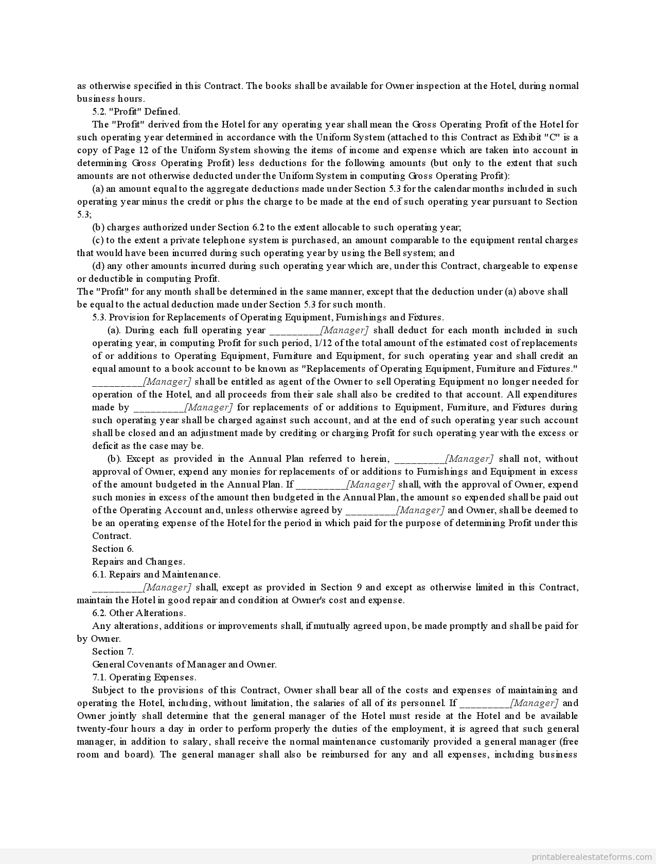 Sample Printable management contract for major hotel with ...