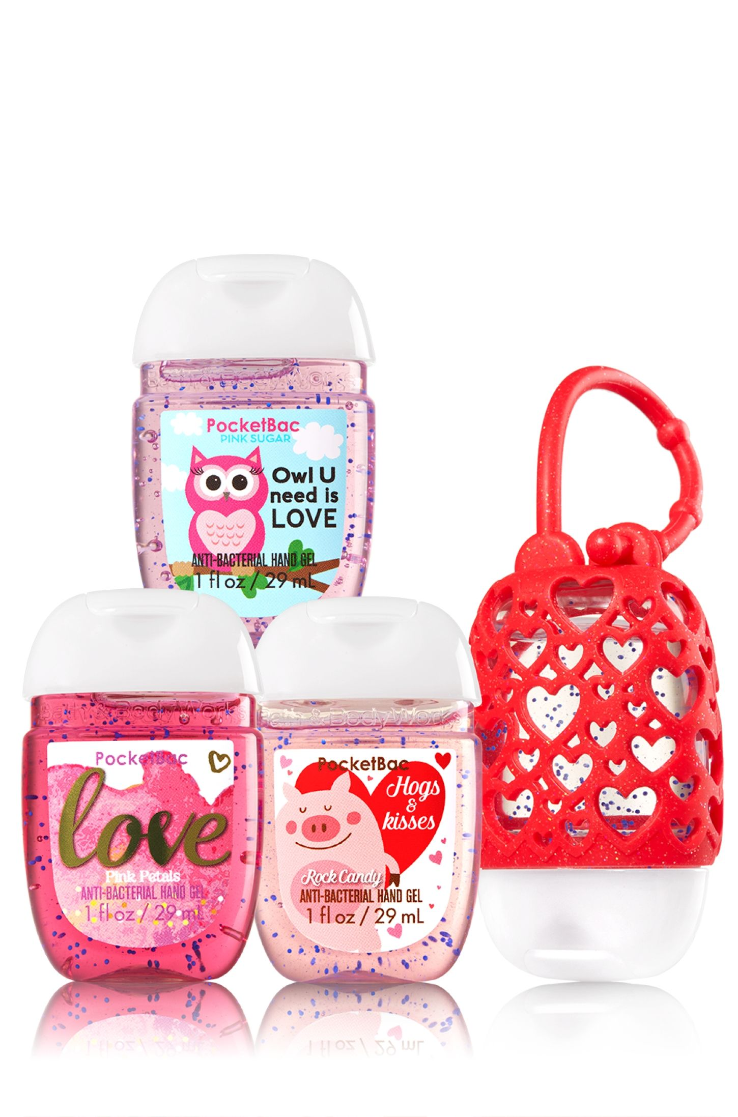 Happy Hearts 3 Pack Pocketbac Holder Soap Sanitizer Bath